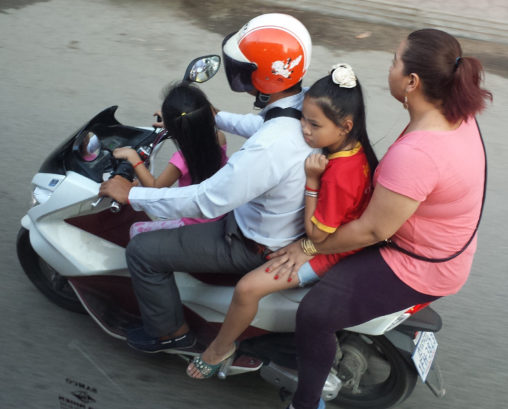A family on a scooter in Vietnam